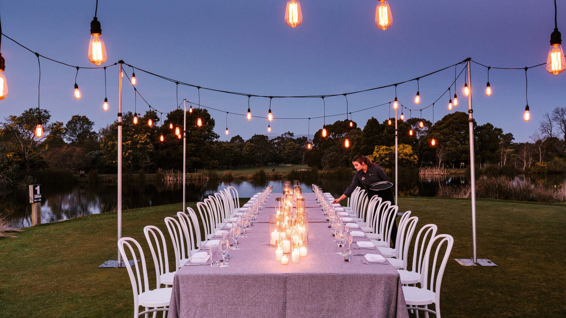 Resort outdoor long table event